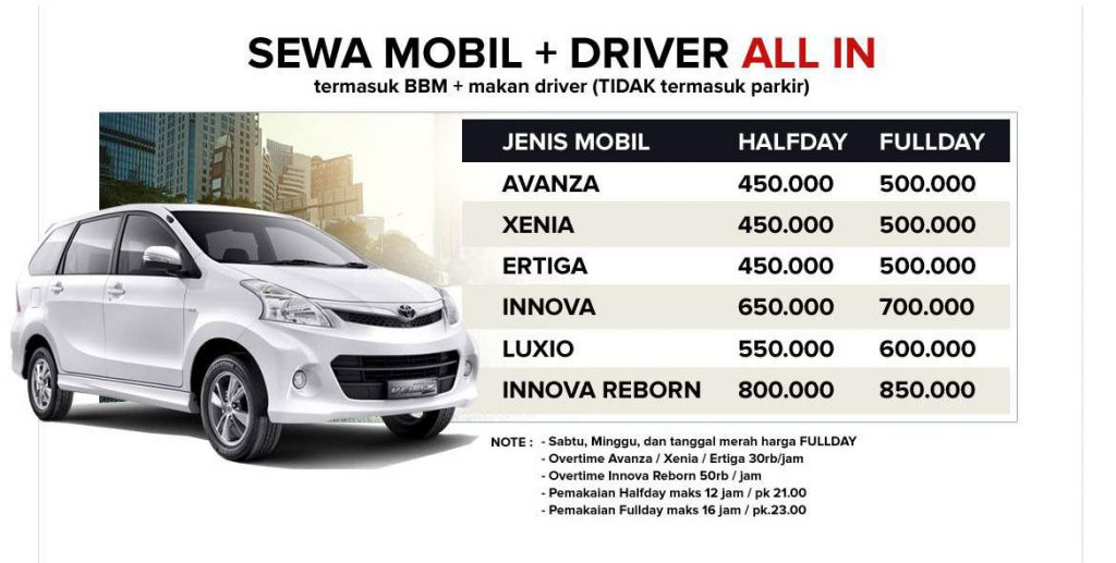 Sewa Rental Mobil Malang plus driever all in