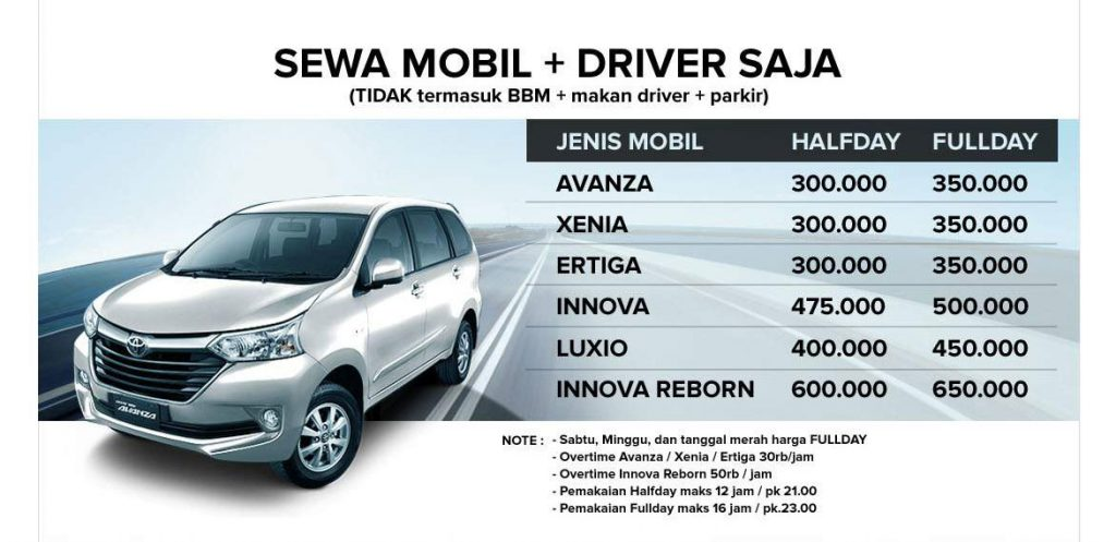 Sewa Rental Mobil Malang plus driever